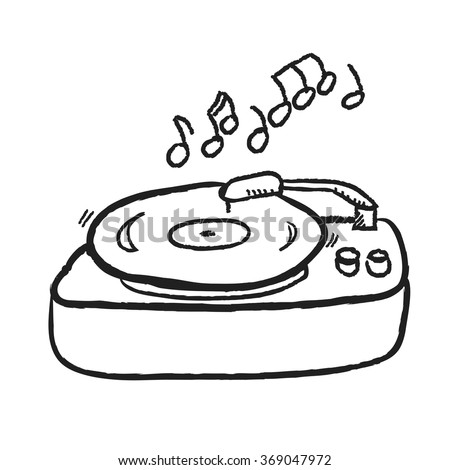 doodle turntable record player with  LP, gramophone, vector illustration icon design element - stock vector
