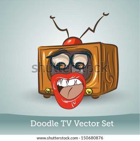 Doodle TV set, funny - stock vector