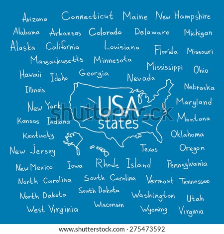 Doodle Usa Map With Handwritten State Names On Blue Background