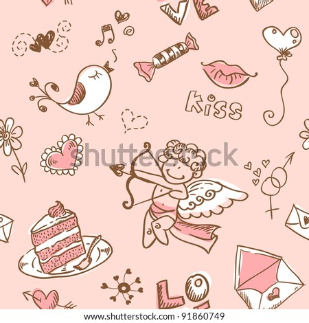 Doodle Valentine's day lovely seamless texture - stock vector