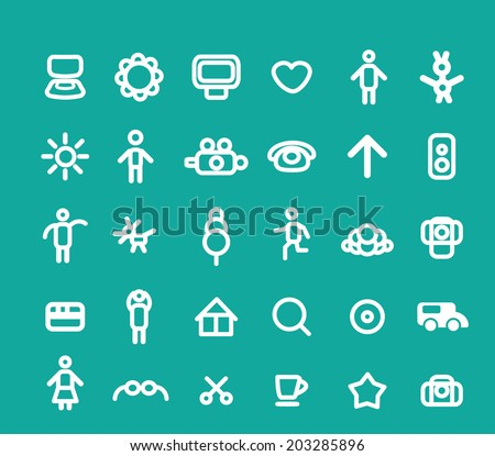 doodle various white icons, signs set, vector
