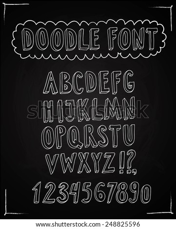 Doodle vector ABC letters on blackboard background. Hand drawn font for your design.