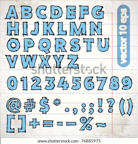 doodle vector alphabet - stock vector