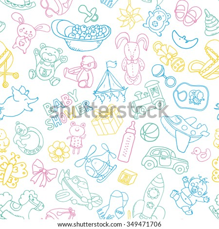 Doodle Vector Babyshower Seamless Pattern With Hand Drawn Toys. Perfect For  Printable Design Products For