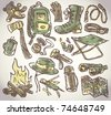 doodle vector camping theme set - stock photo