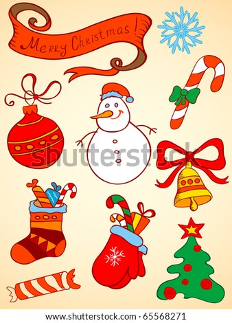 doodle vector Christmas  elements for design - stock vector