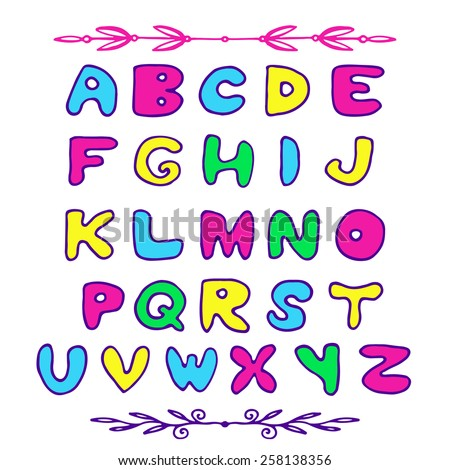 Doodle vector colorful kids alphabet letters. Hand drawn font for your design.