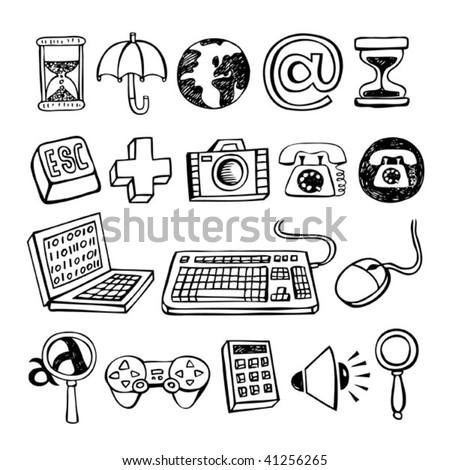 Doodle Vector Computer Symbols. - stock vector
