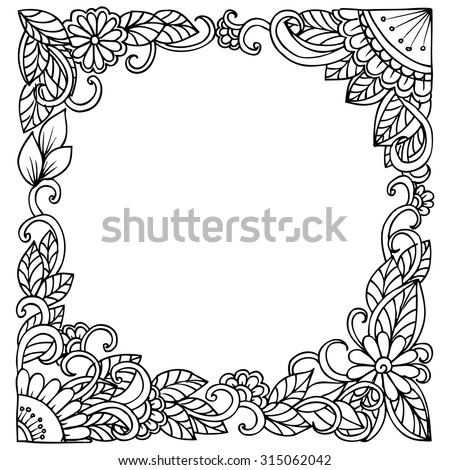 Doodle vector floral square frame in black and white for informative card or party invitation - stock vector