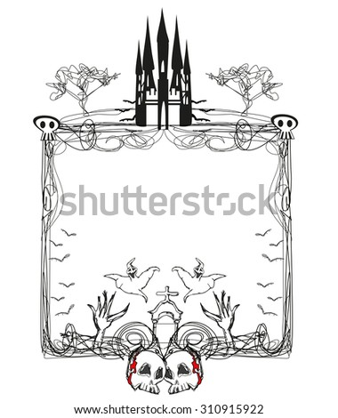doodle vector frame , Halloween bones, bats and skulls  - stock vector