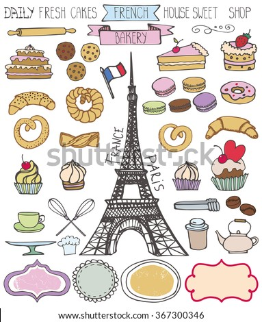 Doodle vector.French Bakery,Cakes and dessert,pastries  icons set and Eifel tower.Colored vintage elements for logo,label,menu,cafe shop. Flat hand drawn isolated items.Sweet collection - stock vector