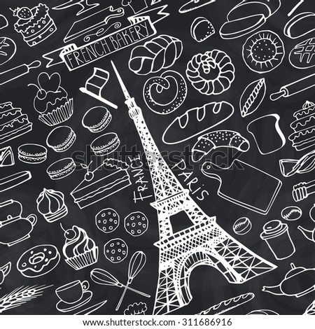 Doodle vector.French Bakery,Cakes,dessert,bread pastries icons set with Eiffel tower.Linear vintage elements for logo,label,menu,cafe shop.Flat hand drawn isolated items.Isolated Chalkboard collection - stock vector