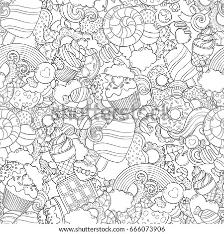 Freehand Sketch For Adult Anti Stress Coloring Book Page Doodle Vector Illustration Abstract Background Texture Pattern Wallpaper Collection Of Sweets