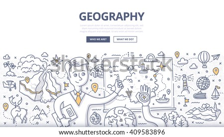 Doodle vector illustration of geography teacher explaining the subject near blackboard. Education concept of geography and exploration for web banners, hero images, printed materials - stock vector