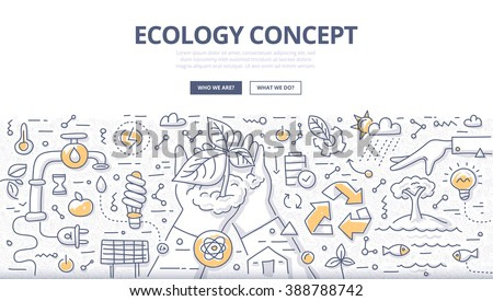 Doodle vector illustration of man properly using and protecting nature. Ecology concept of nature conservation and preservation for web banners, hero images, printed materials - stock vector