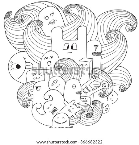 Doodle vector illustration with monsters. Funny monsters graffiti. can be used for backgrounds, t-shirts Coloring book for adults - stock vector