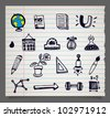 Doodle vector school items icons, set 1. Image contains transparency in sheet shape shadow - you can put it on every surface. EPS 10 - stock photo