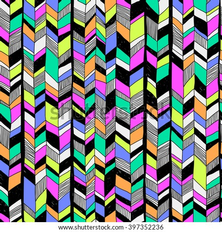 doodle vector seamless pattern with colored pieces. abstract geometric art print. ethnic hipster backdrop. Wallpaper, cloth design, fabric, paper, cover, textile, weave, wrapping. hand drawn - stock vector