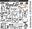 Doodle vector set - hipster - stock photo