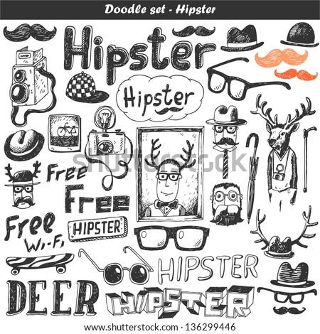 Doodle vector set - hipster - stock vector