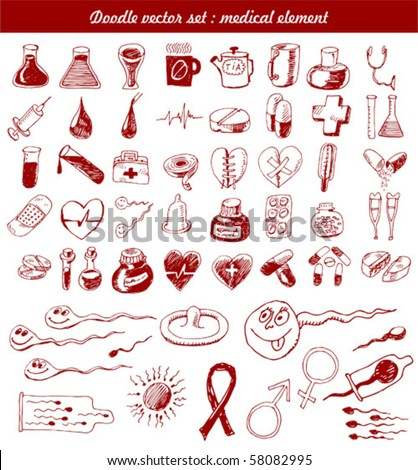 doodle vector set : medical element - stock vector