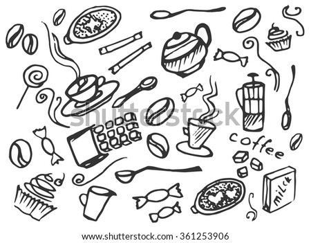 Doodle vector set of coffee, vector illustration, EPS 10 - stock vector