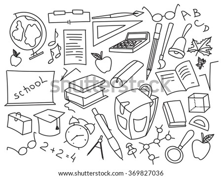Doodle vector set of learning - stock vector