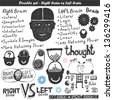 Doodle vector set - right & left brain - stock vector
