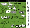 doodle vector set : war - stock vector