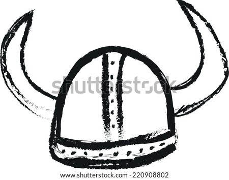 doodle viking helmet - stock vector