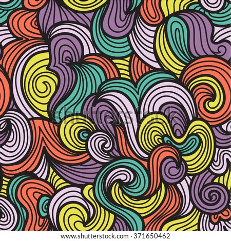 doodle wave hair seamless abstract pattern