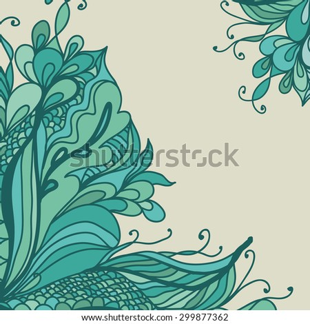 Doodle wavy frame design. Vector background with hand-draw wave ornament.  - stock vector