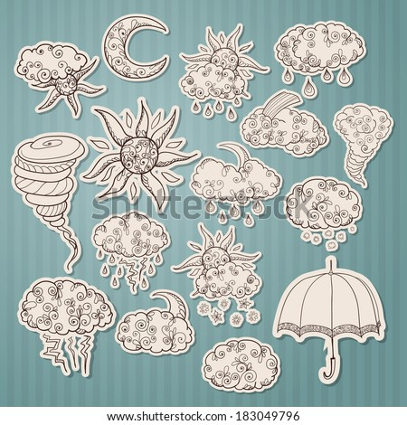 Doodle weather forecast stickers or labels set sketch isolated vector illustration - stock vector