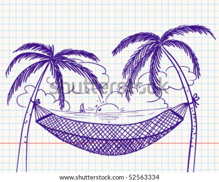 Doodle with hammock and palms - stock vector