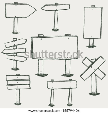 Doodle Wood Signs And Direction Arrows/ Illustration of a set of hand drawn sketched design wood panels and road signs - stock vector