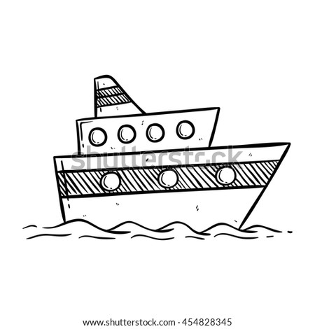 Doodle Yacht Or Cruise Ship On White Background