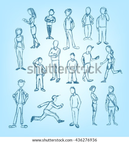 Doodled characters set in running, standing, waiting and talking on the phone positions - stock vector