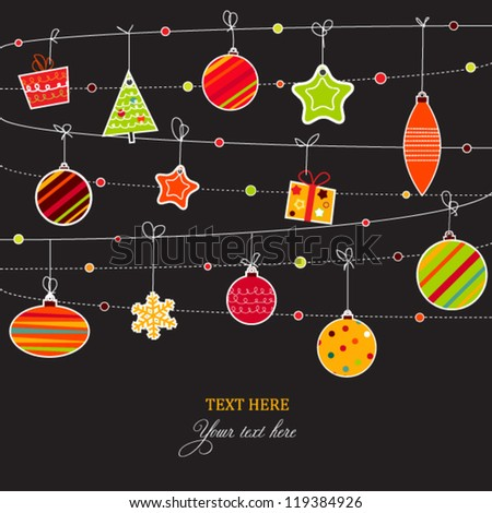 Doodled Christmas card with balls,tree and ornaments, holiday design - stock vector