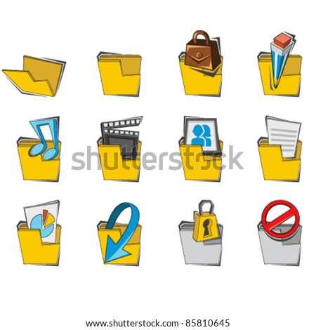 Doodled Folder Icon Collection Set - stock vector