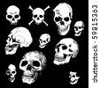 Doodled Skulls - stock vector