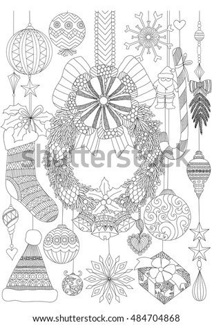 Doodles About Christmas Decorative Stuffs For Adult Coloring Book Pages And Card Invitation