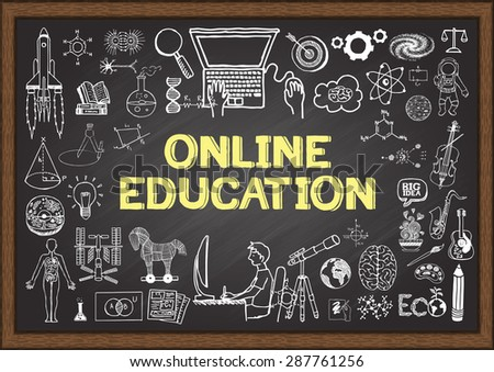 Doodles about online education on chalkboard. - stock vector
