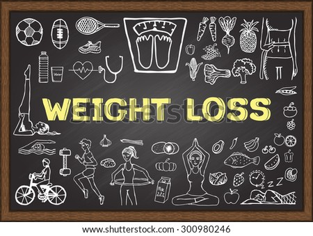 Doodles about WEIGHT LOSS on chalkboard. - stock vector