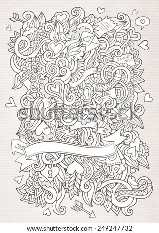 Doodles abstract decorative Love vector sketch background - stock vector