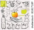 doodles (apples, fruits, etc.) - stock photo