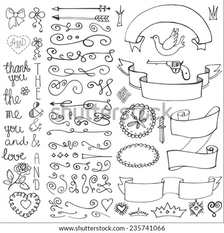 Doodles arrow,hearts,crown,love decor element set.For design template,invitation. Children hand drawing style. For wedding,Valentine day,holiday,Easter,birthday.Vector - stock vector