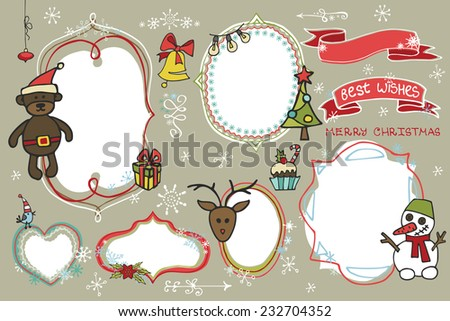 Doodles Badges,labels ,frames with santa faces,snowflakes,holiday icons.Humor Christmas,new year set.For design templates,invitations,card. Children's hand drawing style. Winter Vector - stock vector