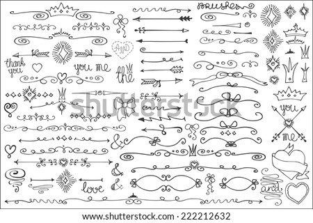 Doodles border,arrow,brushes,hearts,crown,love decor elements set.For design templates,invitations. Children's hand drawing style. For weddings,Valentine's day,holidays,baby design,birthday.Vector - stock vector