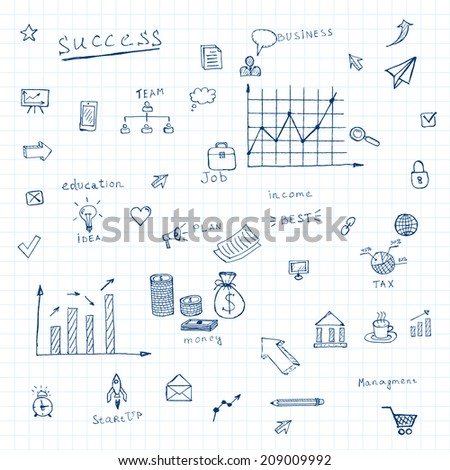 doodles business icons background. vector eps10 - stock vector