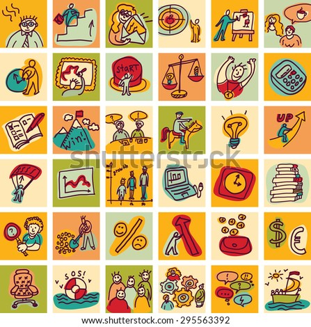 Doodles business icons color set. Set with business hand drawn doodles icons. Color vector illustration. - stock vector